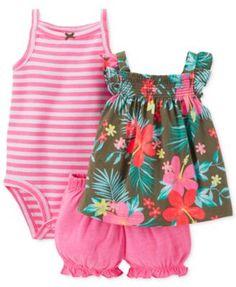 Carter's Baby Girls' 3-Piece Top, Bodysuit & Bloomers Set