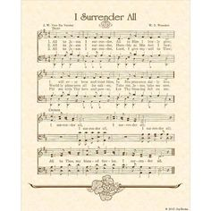 i surrender all hymn sheet music Bible Songs, Praise Songs, Worship Songs, Praise God, I Surrender All, Church Songs, Church Music, Gospel Music, Music Lyrics