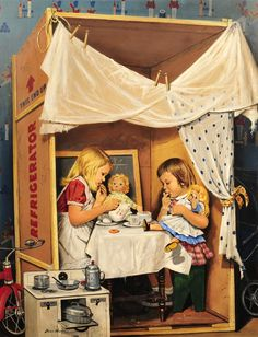 Stevan Dohanos American / 'Playing House' cover of The Saturday Evening Post, January 1953 . depicts girls having dolls' tea party at table in large appliance box playhouse Vintage Prints, Vintage Art, Norman Rockwell Art, Illustrations Vintage, Antique Illustration, Saturday Evening Post, Little Doll, Vintage Magazines, Vintage Children