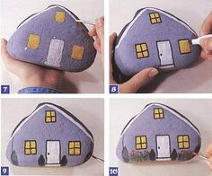 A triangular-shaped rock with painted windows, doors, and shrubs, is a cozy addition to the garden. Get the how-to at  Hodge Podge Craft, from the book Painting on Rocks for Kids.   Source:  Hodge Podge Craft