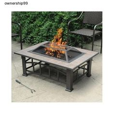 This Outdoor Fire Pit is awesome. You've found it! The perfect fire pit for your outdoor space. This elegant, rectangularOutdoor Fire Pit features an elite tile top and a curved ladder frame.