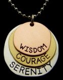 Three Metals - Three Words - Wisdom - Courage - Serenity Life Quotes To Live By, Three Words, Metals, Serenity, Dog Tag Necklace, Inspirational Quotes, Wisdom, Peace, Beauty