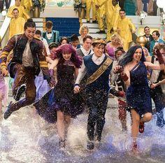 Disney's Descendants 2 Ben and Mal splashing on the wet floor posted on Instagram.