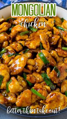 This Mongolian chicken is crispy slices of chicken breast stir fried in a sweet and savory sauce.