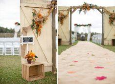 Country wedding isle runner   Wishing well barn wedding