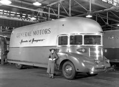 GMC was tasked with engineering and production of the eight 1936 Parade of Progress vans and the dozen 1941 Futurliners, which toured the country carrying mobile road shows. Above, the 33-foot-long, 11-foot-high, 33,000-pound streamliners are pictured traveling through San Bernardino, California.