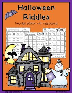 Free 2nd grade math---Halloween Riddles with 2 digit addition