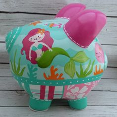 Personalized Piggy bank Mermaid artisan hand painted ceramic