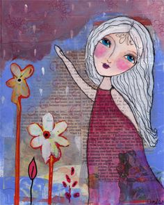 Mixed media painting titled  She Danced. Originally created in layers of collage, watercolors, and acrylic paint.