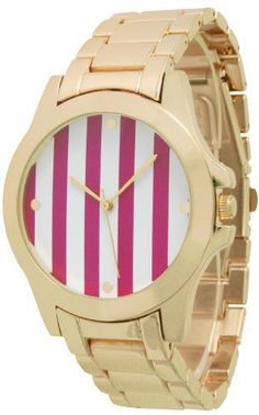 Womens Geneva Striped Gold Plated Metal Watch  Hot Pink ** Read more at the image link.