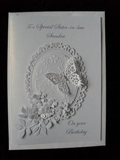 handmade Birthday card by: white on white, die cut creation, flowers, butterfly and label Butterfly Cards, Flower Cards, White Butterfly, Wedding Anniversary Cards, Wedding Cards, Scrapbook Cards, Scrapbooking, Spellbinders Cards, Birthday Cards For Women