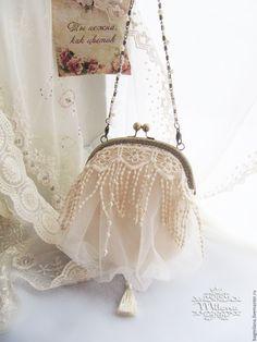 """Купить Вечерняя сумочка """"Crem brule"""" - белый, сумка женская, сумочка с фермуаром"""