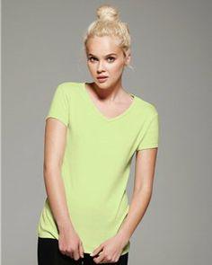 Bella- Womens Fashion- V-Neck Cap Sleeve T-Shirt- Heavy 100% Cotton -1005