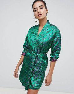 5f16ca5969ea56 PrettyLittleThing Floral Kimono Dress Kimono Floreale