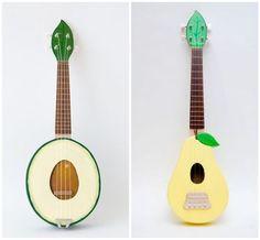 Fruit ukuleles by Paul Celentano (etsy)
