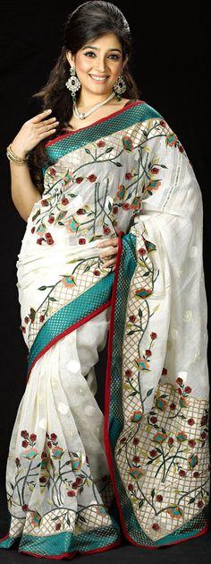 Jamdani Saree with silk paar and embroidari