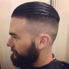 Face cut slicked back Undercut Fade Hairstyle, Undercut Pompadour, Best Hairstyles For Older Men, Haircuts For Men, Moustaches, Brad Pitt Fury Haircut, Hair And Beard Styles, Short Hair Styles, Barbers Cut