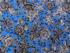 Viscose Estampada Floral Azul 2