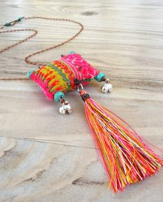 Bohemian Tassel Necklace, Colorful, Eclectic, Pendant with Vintage Hill Tribe Embroidery Textile Jewelry, Fabric Jewelry, Jewelry Art, Jewelry Accessories, Fashion Accessories, Jewelry Design, Fabric Necklace, Diy Necklace, Tassel Necklace