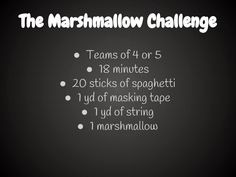 Middle School Math Rules!: The Marshmallow Challenge, a Great Team Building Exercise