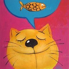 """Tableau - peinture  """"le chat rêveur"""" a l`acrylique et à l'huile"""