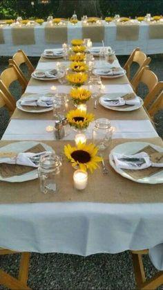 Sunflower Wedding Decorations, Sunflower Party, Rustic Wedding Centerpieces, Wedding Table Centerpieces, Bridal Shower Decorations, Wedding Reception Decorations, Wedding Flowers, Flowers Decoration, Reception Ideas