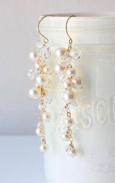 Pearl and Crystal Earrings Swarovski Bridal