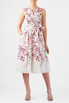 I <3 this Cherry blossom print dupioni midi dress from eShakti