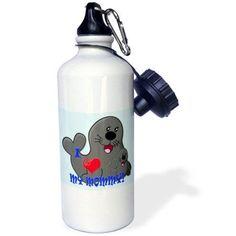 3dRose I Love my Mommy. Seals. Blue. Kids d?cor. , Sports Water Bottle, 21oz