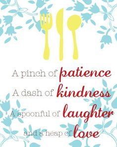 Kitchen Wall Art - Inspirational Quote - 8x10 Art Print - Yellow, Teal, Red, Blue