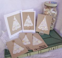 doily trees Christmas tags