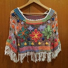 Buy Colourful Crotchet Flower Top in Brisbane,Australia. -Really nice over swimmers -one size (most likely around an -a bit of pink tinted on white (shown in photo) but not really noticeable Chat to Buy Crochet Blouse, Crochet Yarn, Crochet Stitches, Knit Crochet, Crochet Patterns, Crochet Clothes, Diy Clothes, Lace Weave, Look Boho