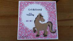 Felicitatie kaart met de paard/eenhoorn mal van Marianne Design