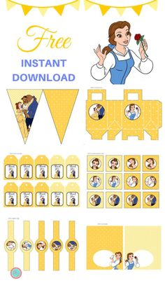 Free Beauty and the Beast Party Printable - Magical Printable : Free Beauty and the Beast Party Printable, Free Disney Princess Belle Party Printable, Free Belle Banner, Free Beauty and Beast Cupcake Toppers, Favor Tags Beauty And Beast Birthday, Beauty And The Beast Theme, Beauty Beast, Princess Belle Party, Punk Princess, Belle And Beast, Disney Princess Belle, Party Kit, Party Printables