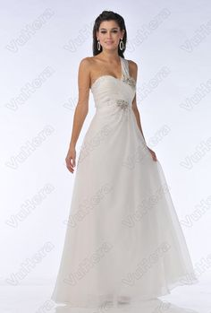 White Beaded One Shoulder Long Prom Dress - Vuhera.com
