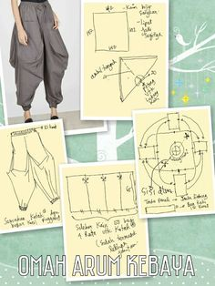 Pants with strut on the bottom Discover thousands of images about Ankle puff pants pattern Paper cutting or pattern of every design Dress Sewing Patterns, Sewing Patterns Free, Sewing Tutorials, Clothing Patterns, Sewing Projects, Pattern Sewing, Sewing Pants, Sewing Clothes, Harem Pants Pattern