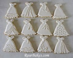 Wedding Dress Cookies   Roll-Out Sugar Cookie Recipe   http://rosebakes.com/wedding-dress-cookies-roll-out-sugar-cookie-recipe/
