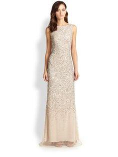 Aidan Mattox - Sequin Tulle Sleeveless Gown - Saks.com