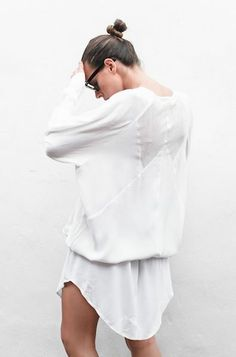 white + shirt dress + bun + casual