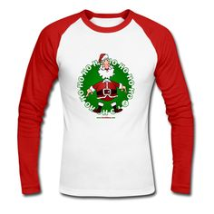Santa Claus Men's Long Sleeve Baseball T-Shirt. #Christmas #Santa #SantaClaus #Spreadshirt #Cardvibes #Tekenaartje #SOLD