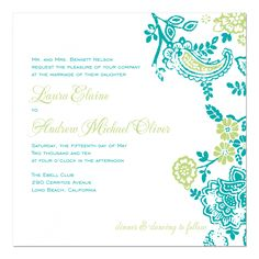 Turquoise and lime wedding invitation.