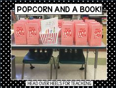 Spark Student Motivation: Popcorn and a Book! Fun way to get your students excited about a new book and reading!