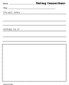 """making connections book report- not a huge fan of """"book reports"""" but this may be a nice way for students to respond to text without the pressure of writing a report! Comprehension Strategies, Reading Strategies, Reading Activities, Reading Lessons, Guided Reading, Teaching Reading, Fun Learning"""