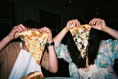 pizza, grunge, and friends