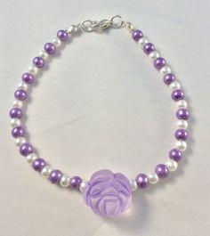 Rose bracelet, Pearl beads, Lucite rose, ladies bracelet, romantic bracelet, Hippy boho gypsy by Angelscrafts1 on Etsy