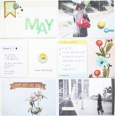 Project Life : Week May Scrapbook Designs, Scrapbook Sketches, Scrapbooking Layouts, Project Life Freebies, Life Page, Life Journal, Studio Calico, Smash Book, Scrapbook Paper Crafts
