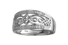 Celtic Ring - Ladies 14k White Gold Diamond Celtic Knot Band