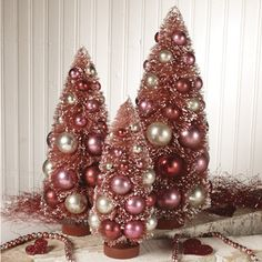 Red and pink bottle brush tree set  also great for Valentine's Day  shelley b home and holiday