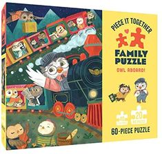 Amazon.com: Chronicle Books Piece It Together Family Puzzle: Owl Aboard! - 60 Piece Jigsaw Puzzle - Two Piece Sizes for Toddlers and Family: Holländer, Petra, Kirwan, Wednesday: Toys & Games Age 3, Petra, Gifts For Family, Wednesday, Toddlers, Jigsaw Puzzles, Owl, Amazon, Games