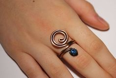 copper with navy blue crystal ring  wire wrapped jewelry handmade
